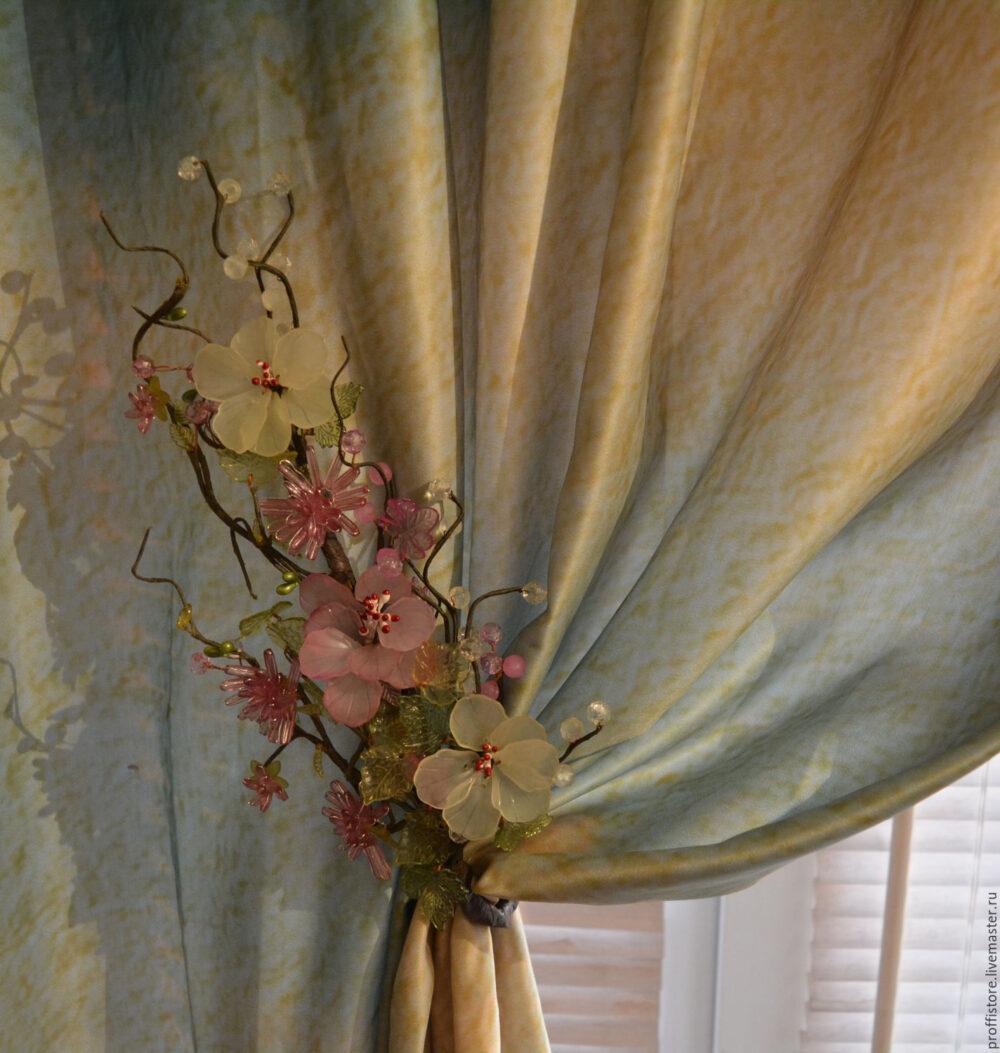 Цветы для штор: мастер класс по изготовлению подхватов для штор 28