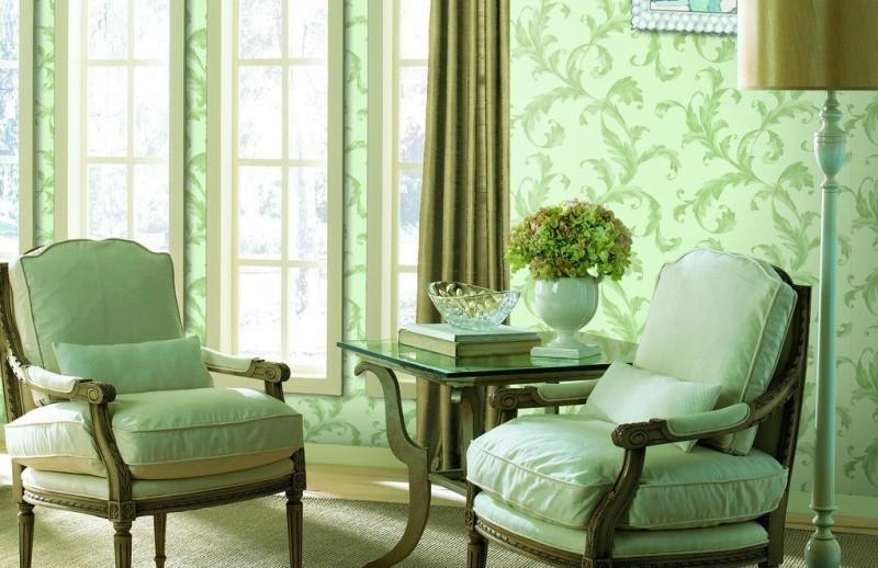 Зелёные обои в интерьере и как подобрать шторы для зелёного цвета стен