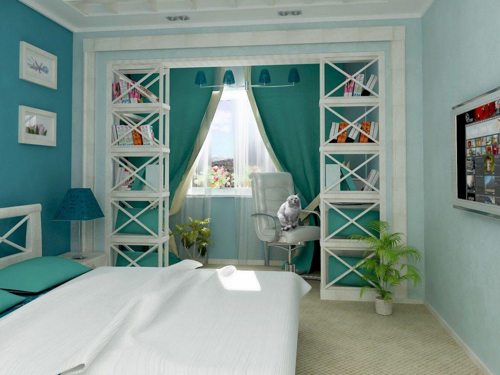 Бирюзовые шторы в интерьере, гармоничные сочетания