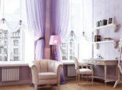 Сиреневые шторы в интерьере гостиной, спальни, кухни